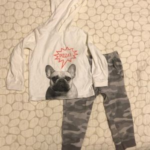 Carter's boys bulldog hoodie and sweatpants set